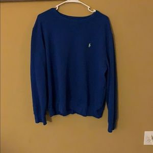 Blue Polo Sweater with Neon green Horse